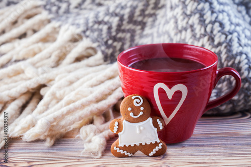 hot chocolate with gingerbread man and cozy blanket Poster