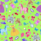 Seamless pattern on the theme of Hobbies baby girls and toys ,patch icons on green background