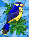 Illustration in the style of stained glass with a beautiful blue bird  on a  background of branch of maple tree and sky - 183295762