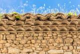herbes folles sur rebord de vieille toiture en tuiles  - 183297107