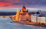 Hungarian parliament, Budapest at sunset - 183298591