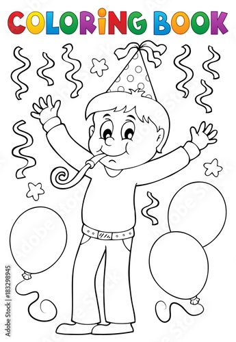 Foto op Canvas Voor kinderen Coloring book boy celebrating theme 1