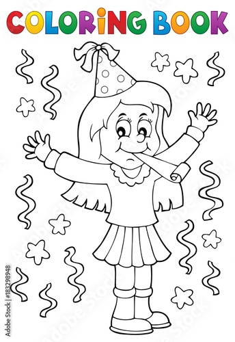 Foto op Canvas Voor kinderen Coloring book girl celebrating theme 1