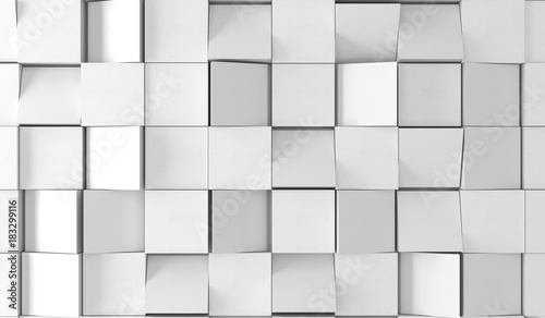 3D Rendering Of Abstract Plain White Boxes Top Empty Space