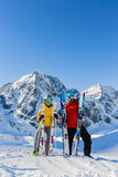 Happy family enjoying winter vacations in mountains. Playing with snow, Sun in high mountains. Winter holidays. - 183299907
