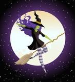 witch flying in the sky - 183304738