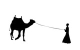 Black and White Silhouette of a Camel with a Bedouin. Vector Illustration. - 183308132