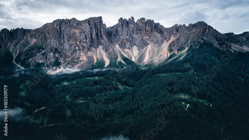 Fotobehang Zwart Aeril view of mountains and forest in europe on the alps