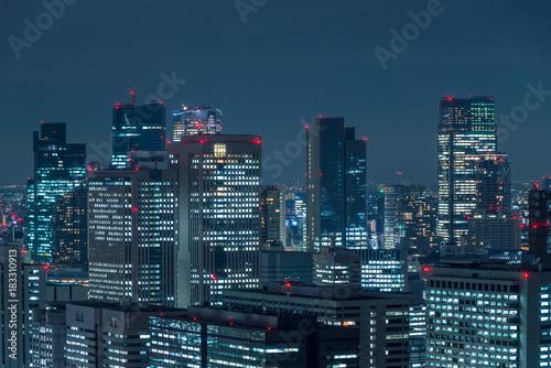 東京の夜景 千代田区のビル群8