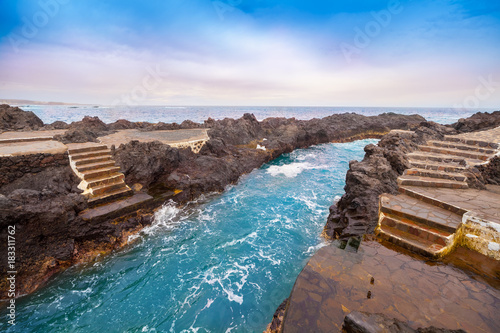 Traditional swimming pools in Garachico town in Tenerife, Canary island, Spain