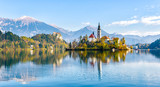 Lake Bled Slovenia. Beautiful mountain lake with small Pilgrimage Church. - 183315975