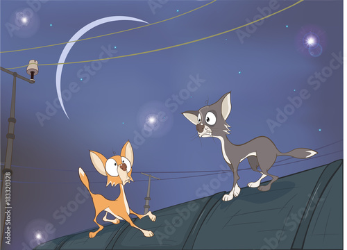 Foto op Aluminium Babykamer Illustration of Adventures. Two Cats on the Roof