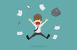 Businessman successful  jumping for joy.Cartoon of business success is the concept of the man characters business, the mood of people, can be used as a background, infographic. vector illustration - 183320749