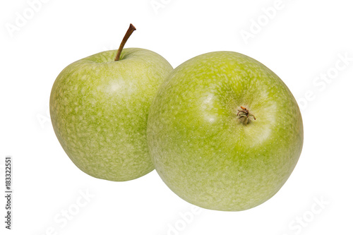Poster Green apples on a white background