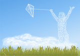 boy with kite - 183323522