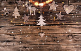 Christmas decoration on wooden background. Top view. - 183327124