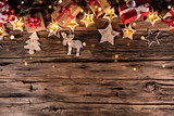 Christmas decoration on wooden background. Top view. - 183327154