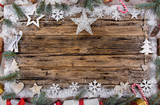Christmas decoration on wooden background - 183327566