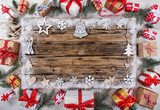 Christmas decoration on wooden background - 183327581