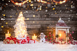Christmas decoration on wooden background - 183328371
