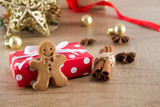 Gift box with christmas homemade gingerbread cookies and christmas decoration