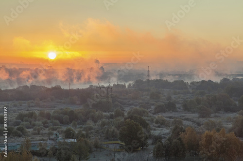 Foggy sunrise in winter Moscow 3