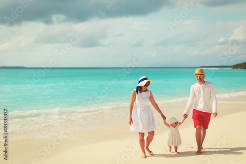 family with little baby playing on tropical beach