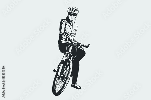 Cycling pose in black and white silhouette. Cycling sign.