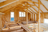 the interior of the frame house in process of construction - 183336590