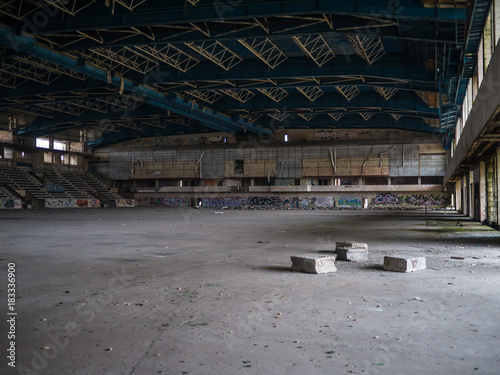 Abandoned stadium with stands Poster