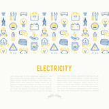 Electricity concept with thin line icons: electrician, bulb, pylon, toolbox, cable, electric car, hand, solar battery. Vector illustration for banner, web page, print media. - 183337724
