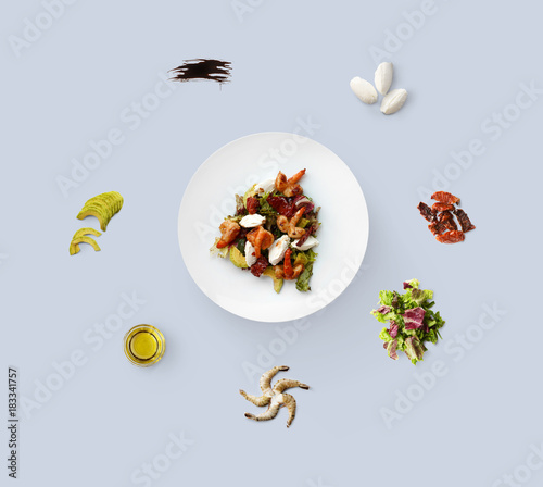 Sticker Cooking ingredients for healthy food, seafood salad, isolated on blue