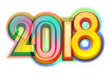 Happy new year 2018 calendar cover, typographic vector illustration. - 183342929