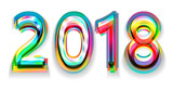 Happy new year 2018 calendar cover, typographic vector illustration. - 183342959