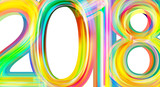 Happy new year 2018 calendar cover, typographic vector illustration. - 183343131