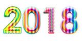 Happy new year 2018 calendar cover, typographic vector illustration. - 183343310