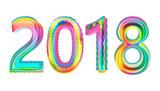 Happy new year 2018 calendar cover, typographic vector illustration. - 183343362