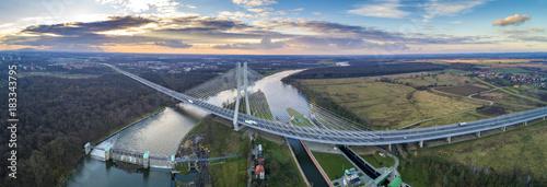 Aerial view of Redzinski Bridge, Wroclaw - Most Rędziński z lotu ptaka