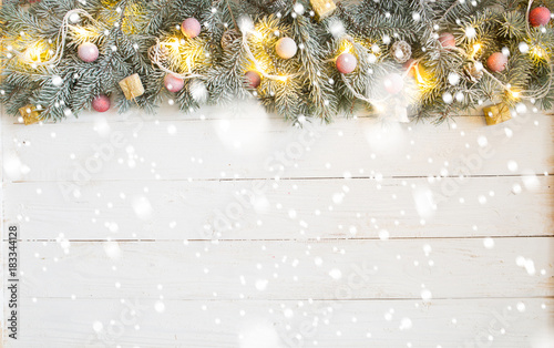 Christmas or New Year decoration wooden background