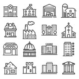 Set of public, government andcommercial city buildings and institutions. - 183346343
