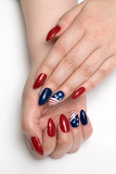 Red blue nails with a design American flag on long sharp nails - 183346393