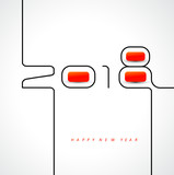 Happy new year 2018 calendar cover, typographic vector illustration. - 183346975