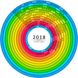 Simple monthly and daily 2018 calendar. Vector colorful swirl shape. - 183347184