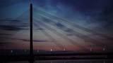 Summer sunset of suspension bridge in Riga, Latvia - 183347549