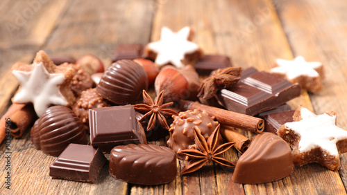 Sticker chocolate, praline for christmas
