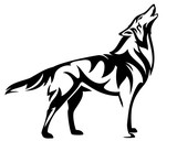 standing howling wolf black and white vector design