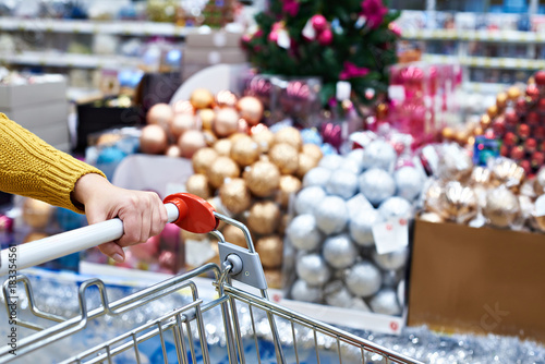 Shopper with shopping cart on Christmas sale in shop