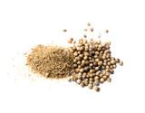 Koriander Samen und Pulver isoliert - 183355360