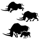 Rhino vector silhouettes. - 183355939