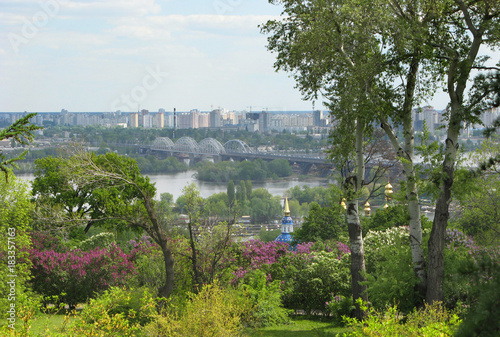 Poster Kiev Spring in Kiev, view of the left bank of the Dnieper